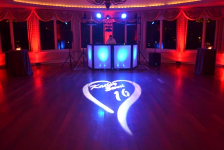 Club Style Lighting with Uplighting and Monogram